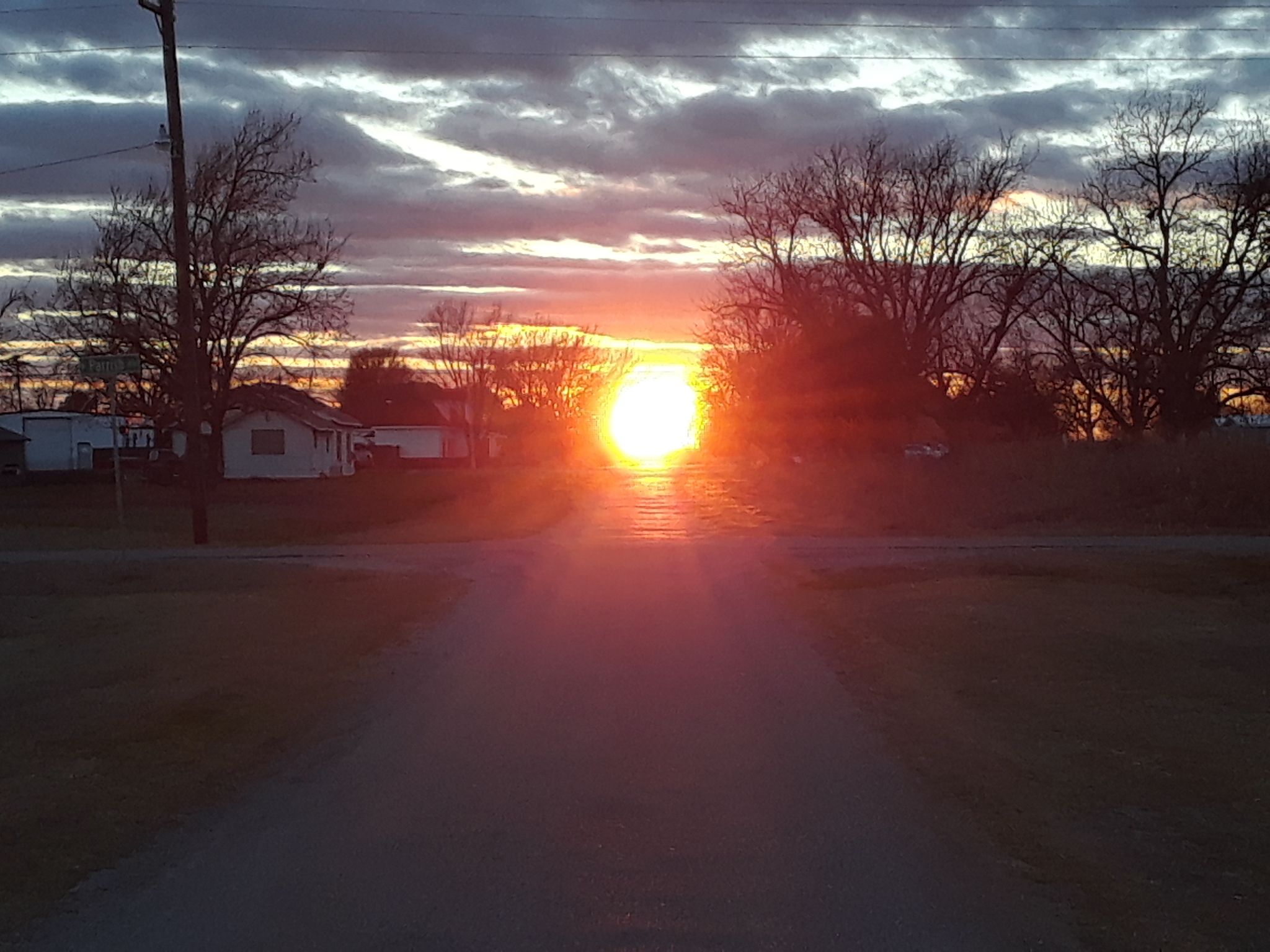 Awesome sunset at the end of the street